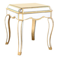 """Elegant Lighting - End Table 22"""" x 22"""" x 26""""H, Gold/Clear mirror"""