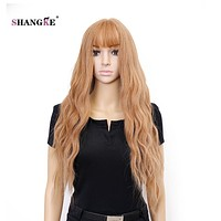 SHANGKE Hair 26'' Long Wavy Wig Light Blonde Synthetic Wigs For White Women Heat Resistant Synthetic Fake Hair Wig