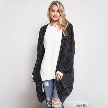 textured knit shawl cardigan - charcoal