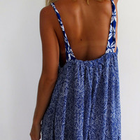 Ladies Swing Dress - Cobalt Blue Mini Leaf Print Dress with patterned Straps
