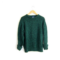 green and black speckled Sweater. wool pullover sweater. size M