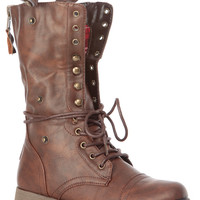 Brown Faux Leather Fold Over Plaid Print Combat Boots