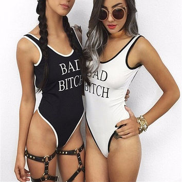 Bitch Print Stripe Backless Sleeveless Bodysuits Rompers FREE SHIPPING