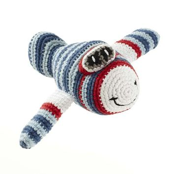 Blue Airplane Fair Trade Knitted Baby Rattle