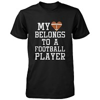 Funny Graphic Womens Black T-shirt - My Heart Belong to A Football Player
