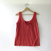 Vintage 80s tank top. red striped tank top. button front shirt.