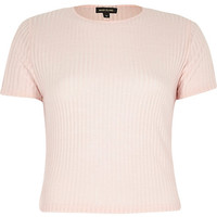 River Island Womens Light pink ribbed crop top