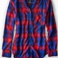 AEO 's Plaid Boyfriend Shirt (Cobalt Blue)