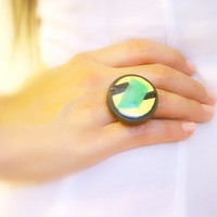 Enamel Adjustable Ring, Retro Round Green, Yellow, Black Original 70s OOAK Copper Based Upcycled Abstract