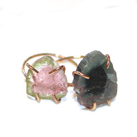 Rustic Watermelon Tourmaline Ring Blue Tourmaline Ring Gold Filled Ring Size 6 Watermelon Tourmaline Slice Tourmaline Jewelry Delicate Ring