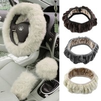 Free Shipping 1 pc Charm Warm Long Wool Fur Plush car Steering Wheel Cover woolen Car Handbrake Accessory hot selling