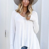 Feels Right White Waffle Knit Summer Top