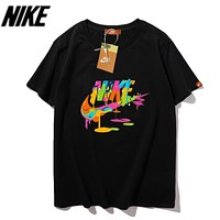 Nike Summer New Fashion Multicolor Letter Hook Print Women Men Top T-Shirt Black