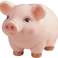 Round Plump Traditional Pink Piggy Collectible Money Bank Decor