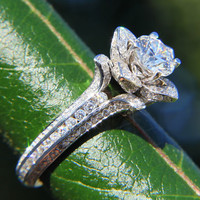 READY to Ship - Gorgeous UNIQUE Flower Rose Diamond Engagement Ring - 2.2 carat - 14K white gold - art deco - fL01
