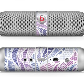 The Purple and White Lace Design Skin for the Beats by Dre Pill Bluetooth Speaker