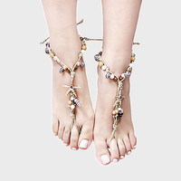 Bridal foot jewelry, wedding jewelry, Bohemian foot jewelry, Starfish Shells Hemp Barefoot Sandals Anklets, wedding accessories, bridesmaid barefoot sandals, beach accessry