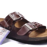 Birkenstock Arizona Sandals Leather Squares Brown
