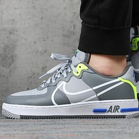 NIKE AIR FORCE 1 REACT WHITE D/MS/X New fashion hook print men shoes Gray