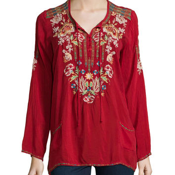 Carnation Long-Sleeve Embroidered Blouse, Women's, Size: