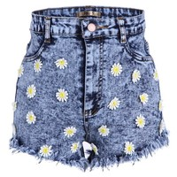 Acid Wash Cut Off Jeans Denim Shorts with High Waist and Daisy Flower Details