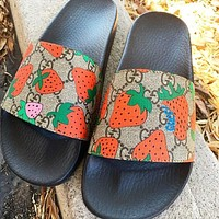 Gucci GG Geranium flowers Slippers Three colors available Red Floral