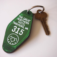 Twin Peaks The Great Northern Hotel Room Key Ring - Keychain - Laser Cut Wood