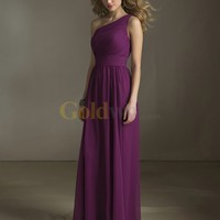 [US$163.99] Grape One-shoulder Floor-length Pleated Chiffon Bridesmaid Dress