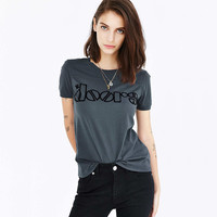 Casual Letter Printed Gray Shirt