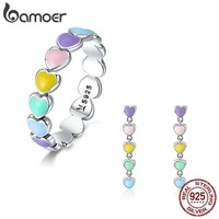 BAMOER Authentic 925 Sterling Silver Jewelry Set Rainbow Heart to Heart Rings & Earrings Jewelry Sets Sterling Silver Jewelry