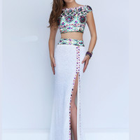 Cap Sleeved Crop Top Sherri Hill Formal Prom Gown 50021