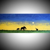 "View: original abstract animal art acrylic original landscape african ""elephant sunset"" yellow edition impasto africa animal painting art canvas animal art - 121 x 40 cm 