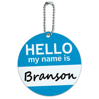 Branson Hello My Name Is Round ID Card Luggage Tag