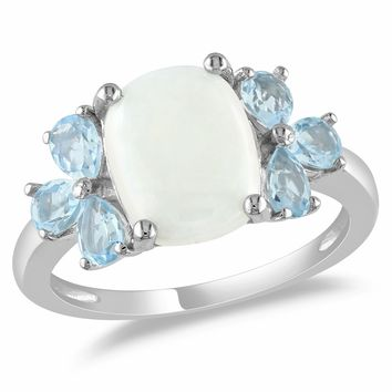 3 Carat Blue Topaz Fashion Ring in Sterling Silver