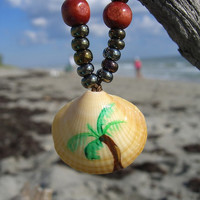 Palm Tree Seashell Necklace-THE TROPICS-Stocking Stuffer, Gifts for Her, Gifts for 15, Beach Jewelry, Palm Tree, Hanukkah Gifts, Ocean