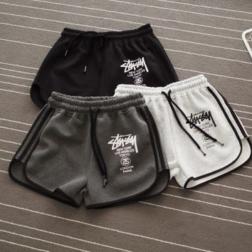 Chic Stussy Letter Printed Sports Shorts Pants