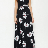 Backless Floral Print Maxi Dress - Black/White