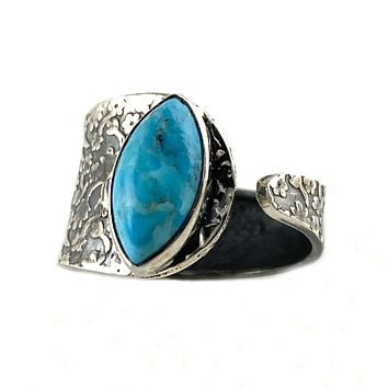 Turquoise Sterling Silver Adjustable Floral Pattern Ring