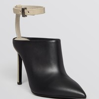 Vince Pointed Toe Ankle Strap Mule Booties - Armon High Heel
