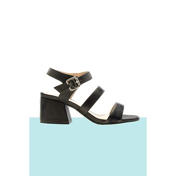 Licorice Chunky Heel Sandals
