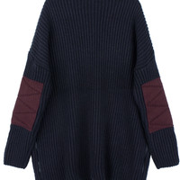 AnnaKastle Cute Elbow Patch Long Sleeve Cozy Chunky Rib-Knit Sweater Size M - L