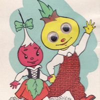 """Glued Googly Eyes, Double Greeting Card """"Cipollino"""" -- 1968. Condition 9/10"""