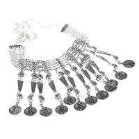 Retro Ethnic Turkish Indian Bohemian Style Jewelry Carving Coin Pendant Tassels Necklace Vintage Antique Chunky Metal Chocker