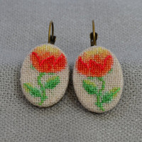 Embroidered peony Cross stitch earrings Embroidered jewelry flowers Unique red peony Red earrings Oval earrings Gift for her Hand embroidery