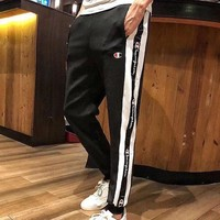 Champion pants men's black and white standard slacks for casual wear women's thin breathable sweatpants for lovers