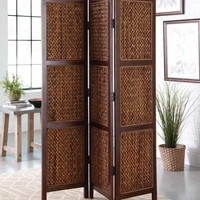 3 panel natural honey finish wood frame shoji screen room divider with woven banana leaf center panels