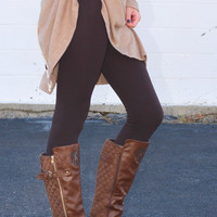Solid Plush Lined Legging {Coffee}