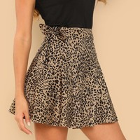 Knot Side Leopard Print Skirt
