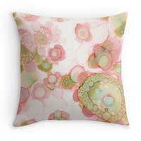 Abstract Throw Pillow 'Organic in Pink'