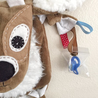 Fawn, Deer, Doe, Buck, Baby Tag Blanket Crinkle Ears and Tail with Pacifier